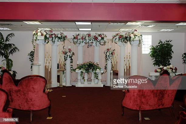 A Little White Wedding Chapel Home of the World Famous DriveUp Wedding Window Interior