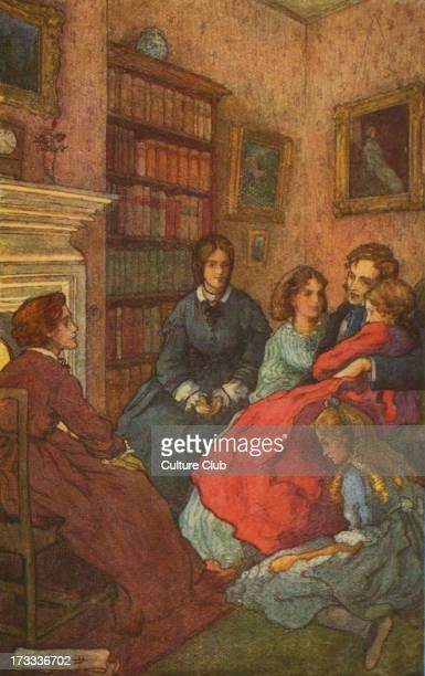 Little Women by Louisa M Alcott Illustrations by M V Wheelhouse Caption reads As twilight gathered the happy family sat together around the fire...