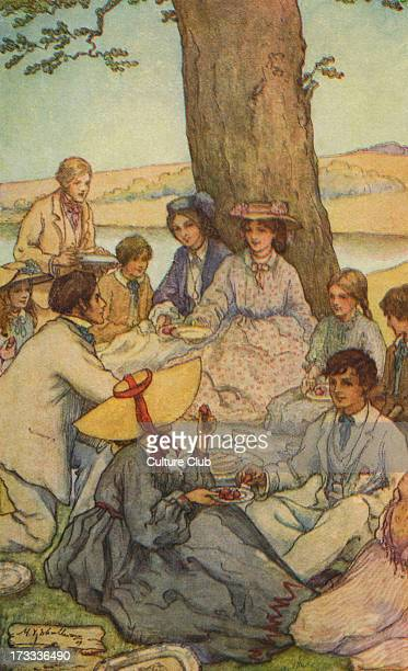 Little Women by Louisa M Alcott Illustrations by M V Wheelhouse Caption reads Camp Laurence Louisa May Alcott