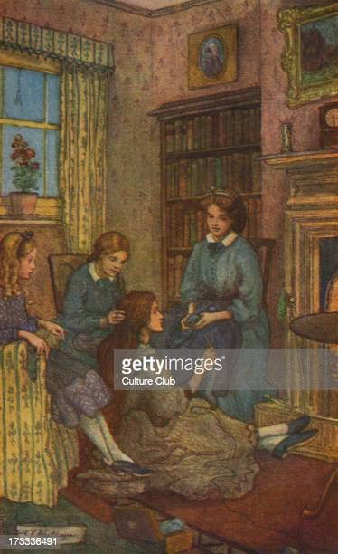 Little Women by Louisa M Alcott. Illustrations by M V Wheelhouse . Caption reads: The Little Women . Louisa May Alcott .