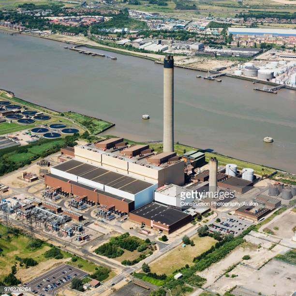 Littlebrook OilFired Power Station owned by nPower Dartford Thames Gateway East London Kent UK aerial view