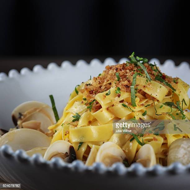 Littleneck clam tagliatelle with uni breadcrumbs with chili at One Twenty One Restaurant in North Salem, NY. Photo by Lisa Wiltse