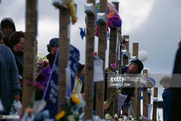 Columbine shrine to the fifteen people killed in the Columbine High School massacre The shrine is on a hill near the school