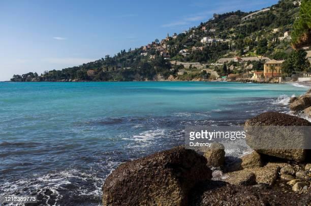 littoral ligurie, italie - baia foto e immagini stock