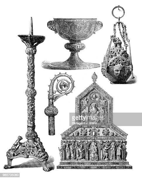 Liturgical utensils of the Middle Ages on the left a altar chandelier in the middle a food cup in the middle a Curva Curvatur or Curvatura of a...
