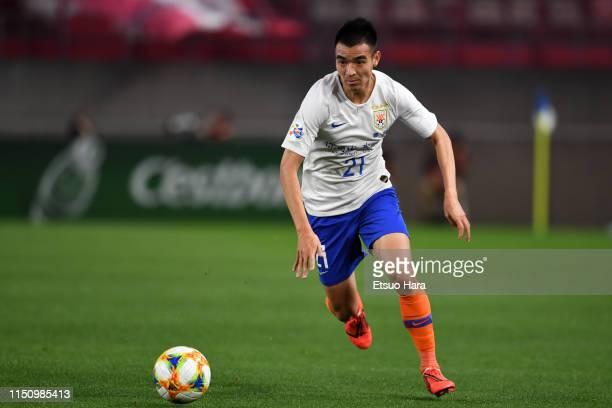 Liu Bin Bin of Shandong Luneng in action during the AFC Champions League Group E match between Kashima Antlers and Shandong Luneng at Kashima Soccer...