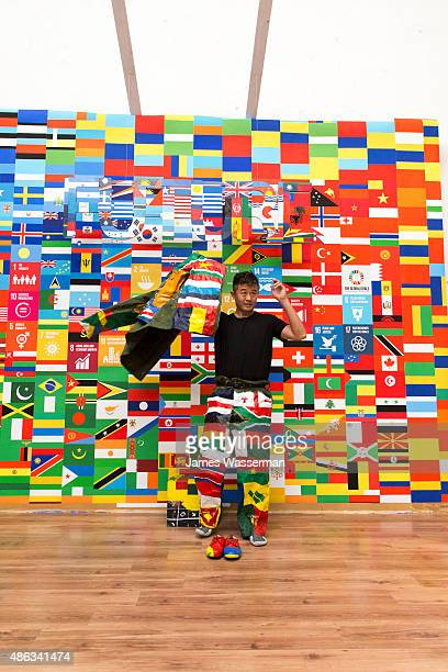 Liu Bolin creates art for the Global Goals campaign at Liu Bolin Studio August 28 2015 in Beijing China