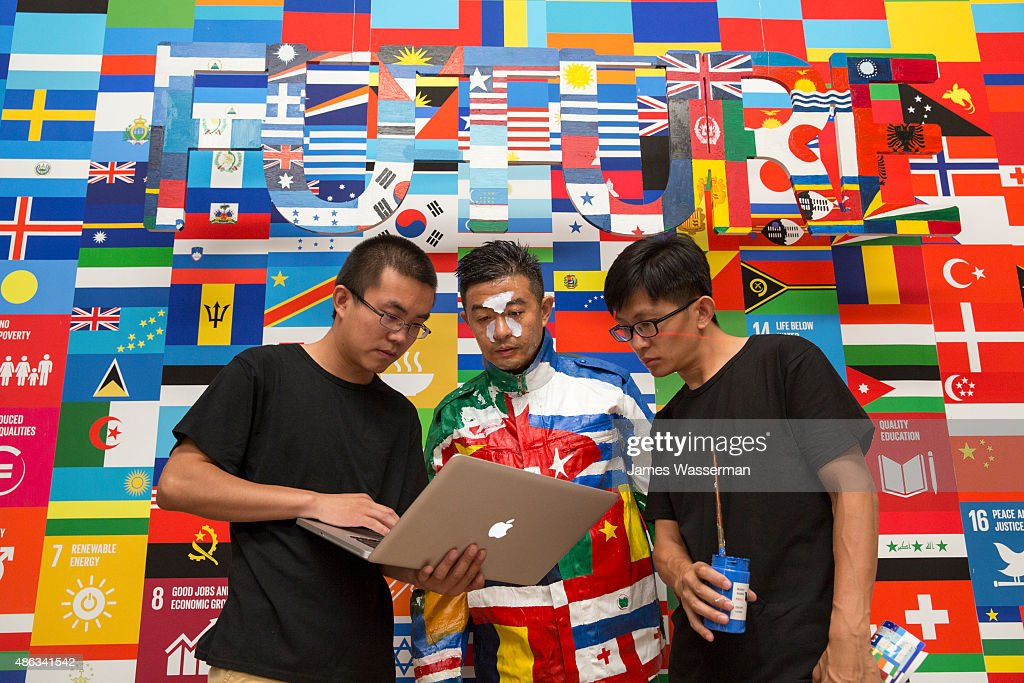 Liu Bolin creates art for the Global Goals campaign at Liu Bolin Studio August 28, 2015 in Beijing, China.