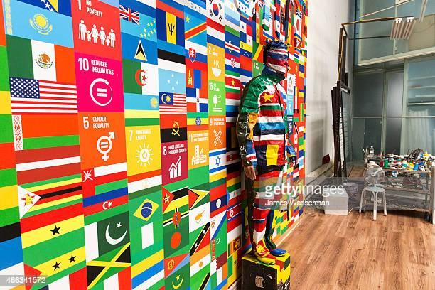 Liu Bolin creates art for the Global Goals campaign at Liu Bolin Studio August 28 2015 in Beijing China