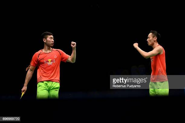 Liu Cheng and Zhang Nan of China reacts against Li Junhui and Liu Yuchen of China during Mens Double Semifinal match of the BCA Indonesia Open 2017...