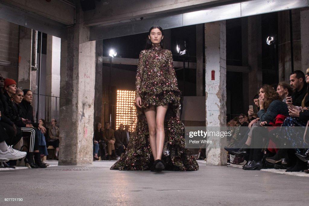 Liu Chunjie walks the runway during the Giambattista Valli show as part of the Paris Fashion Week Womenswear Fall/Winter 2018/2019 on March 5, 2018 in Paris, France.