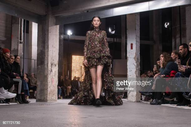 Liu Chunjie walks the runway during the Giambattista Valli show as part of the Paris Fashion Week Womenswear Fall/Winter 2018/2019 on March 5 2018 in...