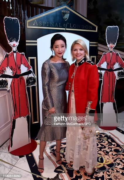 Liu Fan Fei and Mariya Dykalo attend the Aspinal of London AW19 presentation during London Fashion Week February 2019 at the Aspinal Of London on...