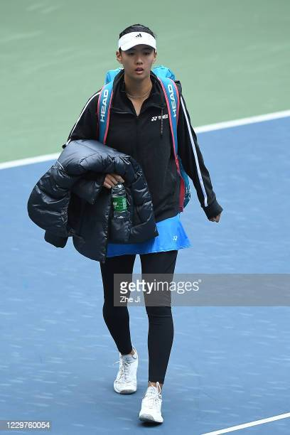 Liu Fangzhou of China enters the court during the Women's singles first round against Wang Yafan of China on day 2 of the 2020 CTA Tour 800 1000...