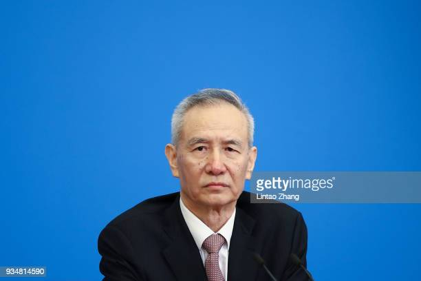 Liu He China's vice premier and director of the central leading group of the Chinese Communist Party attends a news conference with Premier Li...