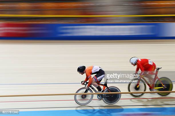 Liu Juncheng of China and Roy van den Berg of the Netherlands compete in the Men's Sprint 1/16 Finals during the Tissot UCI Track Cycling World Cup...
