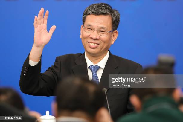 Liu Kun, Finance Minister of China, attends a press conference at Media Center on March 7, 2019 in Beijing, China.