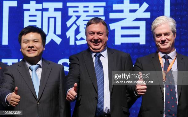 Liu Ruopeng Chairman of Kuangchi Science Peter Coker CEO of Martin Jetpack and Jay Godsall CEO of Solar Ship pose for a picture during HKIEF Forum...