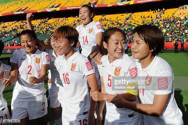 Liu Shanshan of China PR, Lou Jiahui, Wu Haiyan, Wang Shuang and Zhao Rong celebrate their 1-0 victory over Cameroon after their FIFA Women's World...