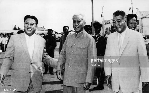 Liu Shaochi Chairman of the People's Republic of China and Vicechairman of the Central Committee of the Communist Party of China being greeted at the...