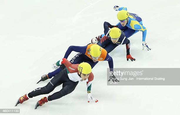 Liu Shaolin Sandor of Hungary Kwak YoonGy of South Korea Daan Breeuwsma of Netherlands and Denis Nikisha of Kazakhstan compete in the Men 500M...