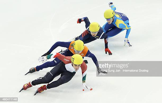 Liu Shaolin Sandor of Hungary Kwak YoonGy of South Korea Daan Breeuwsma of Netherlands and Denis Nikisha of Kazakhstan compete in the Men 500M...