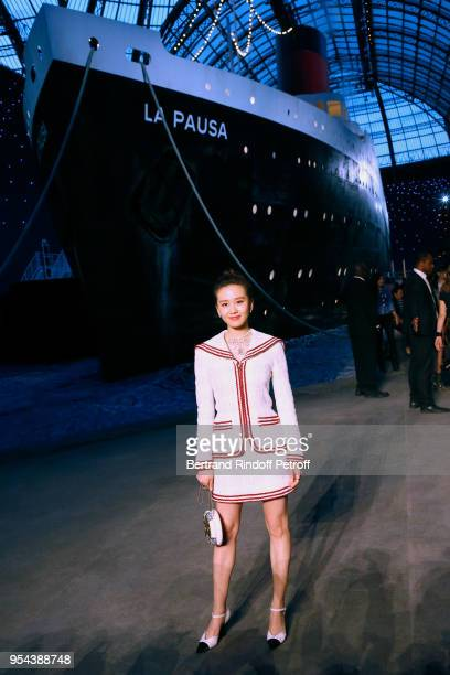 Liu Shishi attends the Chanel Cruise 2018/2019 Collection Photocall at Le Grand Palais on May 3 2018 in Paris France