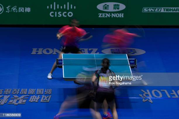 Liu Shiwen and Ding Ning of China compete against Cheng HsienTzu and Chen SzuYu of Chinese Taipe during Women's Teams doubles Semifinals doubles...