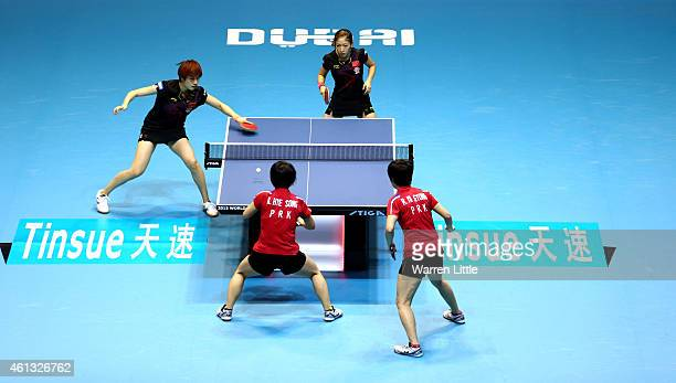 Liu Shiwen and Ding Ning of China en route to beating Kim Hye Song and Ri Mi Gyong of North Korea to win the Women's Final of the 2015 ITTF World...