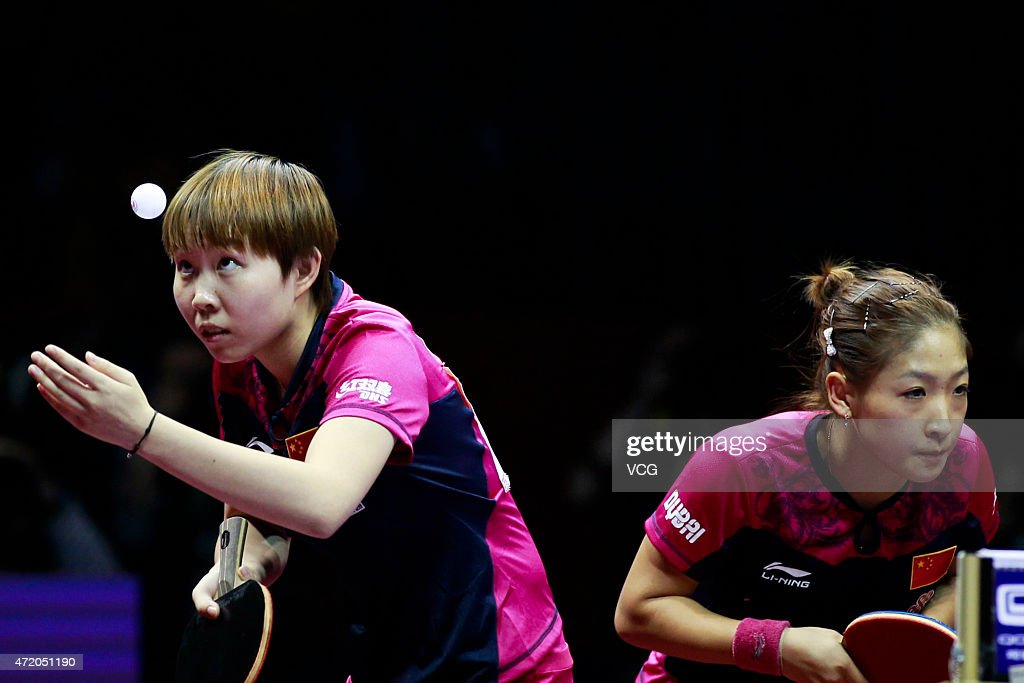 Liu Shiwen (R) and Zhu Yuling of China compete against Ding Ning and Li Xiaoxia of China during women's doubles final match on day eight of the 2015 World Table Tennis Championships at the Suzhou International Expo Center on May 3, 2015 in Suzhou, China.