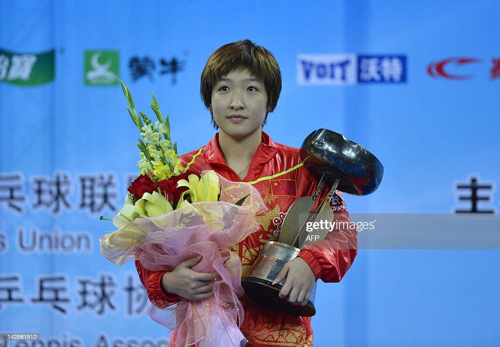 Liu Shiwen of China poses with her troph : News Photo