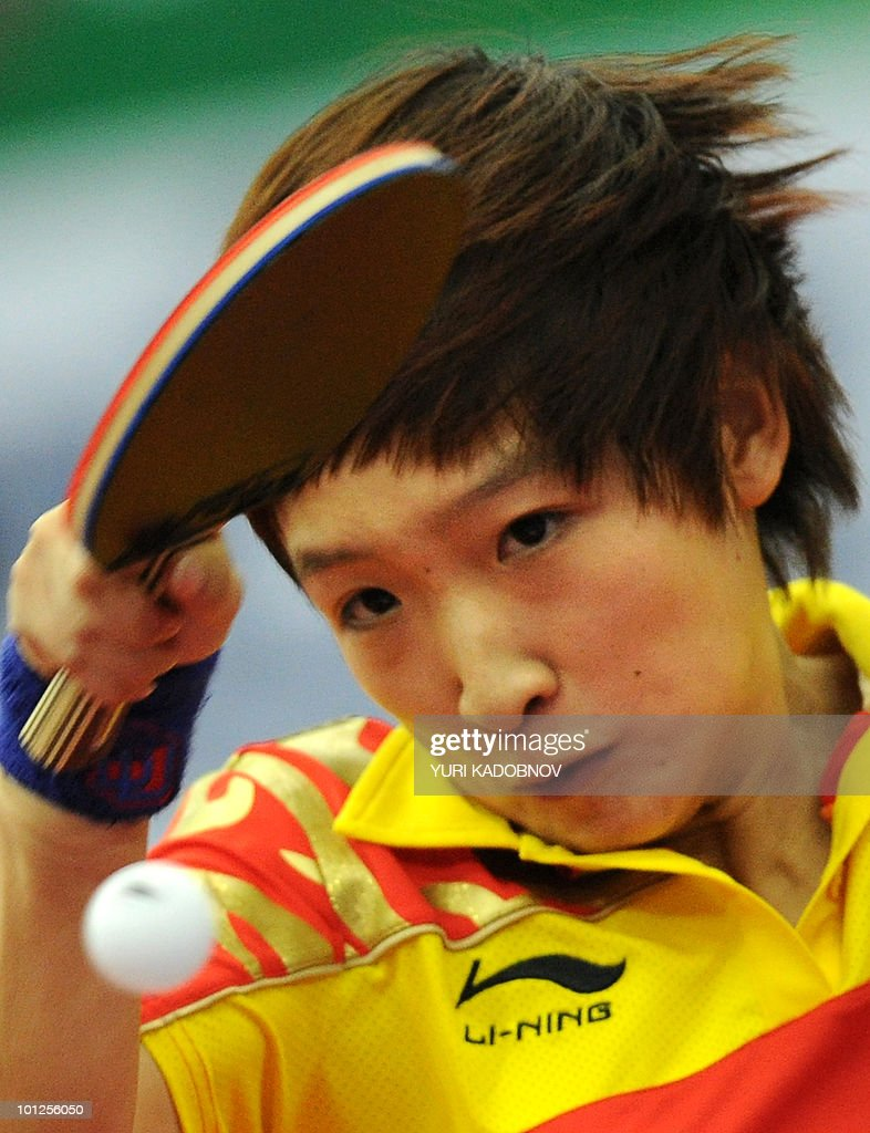 Liu Shiwen of China returns a service to Sayaka Fukuhara of Japan during the women's semi final at the 2010 World Team Table Tennis Championships in Moscow on May 29, 2010.