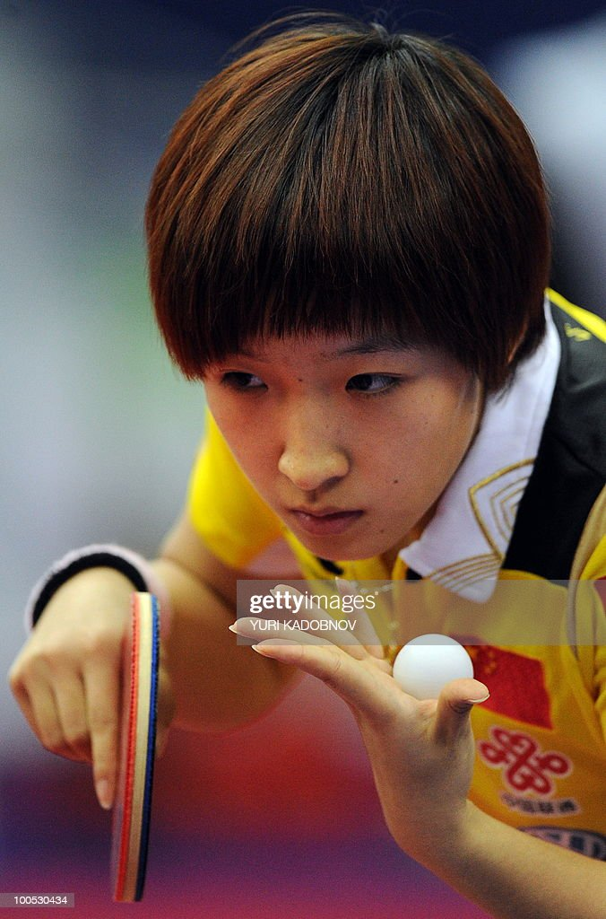 Liu Shiwen of China serves to Pole Katarzyna Grybowska during their women's teams group A match at the 2010 World Team Table Tennis Championships in Moscow on May 25, 2010.