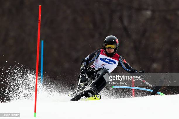 Liu Sitong of China competes in the Alpine Skiing Women's Slalom Run 1 Sitting during day nine of the PyeongChang 2018 Paralympic Games on March 18...