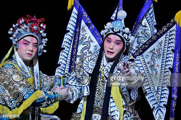 Liu Tao as Xiahou Mu and Fu Xiru as Prince Zi Dan in the Shanghai Peking Opera Troupe's production 'The Revenge of Prince Zi Dan'directed by Shi...
