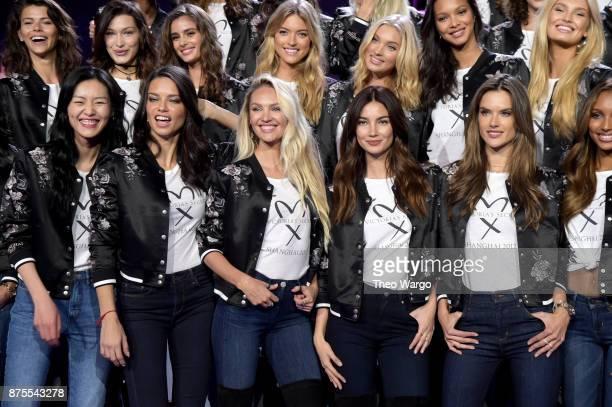 Liu Wen Adriana Lima Candice Swanpoel Lily Aldridge and Alessandra Ambrosio pose during the All Model Appearance At MercedesBenz Arena on November 18...