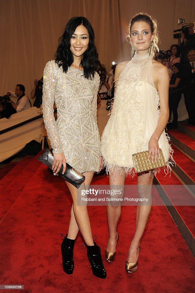 Liu Wen and Constance Jablonski attends the Costume Institute Gala Benefit to celebrate the opening of the 'American Woman: Fashioning a National Identity' exhibition at The Metropolitan Museum of Art on May 8, 2010 in New York City.