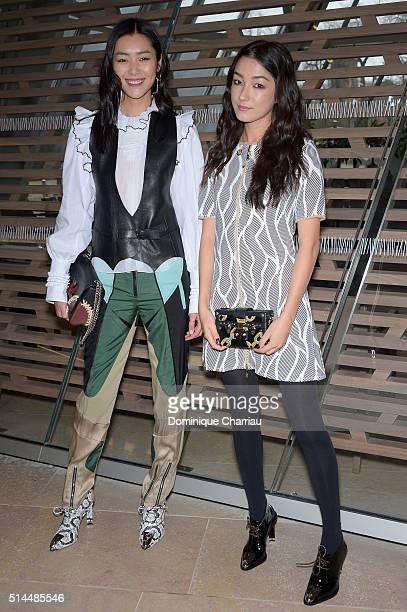 Liu Wen and Natasha Liu Bordizzo attend the Louis Vuitton show as part of the Paris Fashion Week Womenswear Fall/Winter 2016/2017 on March 9 2016 in...