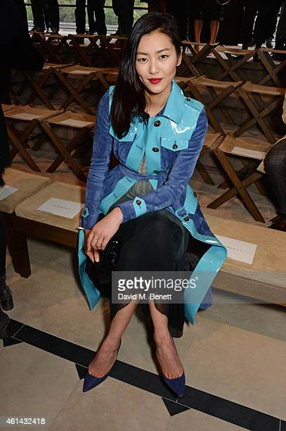 Liu Wen attends the front row at Burberry Prorsum AW15 London Collections Men at Kensington Gardens on January 12 2015 in London England
