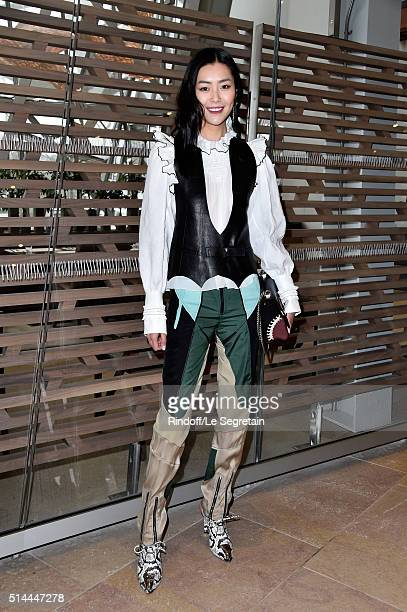 Liu Wen attends the Louis Vuitton show as part of the Paris Fashion Week Womenswear Fall/Winter 2016/2017 on March 9 2016 in Paris France