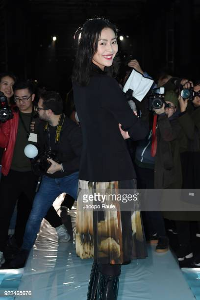 Liu Wen attends the Moschino show during Milan Fashion Week Fall/Winter 2018/19 on February 21 2018 in Milan Italy