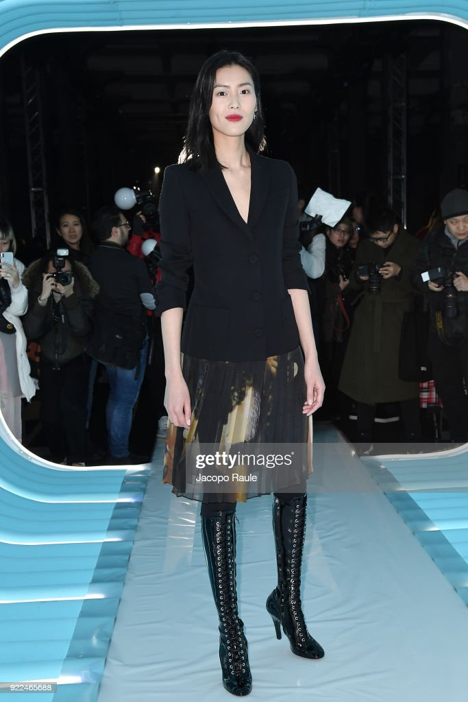 Liu Wen attends the Moschino show during Milan Fashion Week Fall/Winter 2018/19 on February 21, 2018 in Milan, Italy.