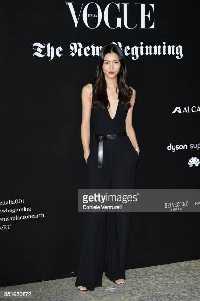 Liu Wen attends the Vogue Italia 'The New Beginning' Party during Milan Fashion Week Spring/Summer 2018 on September 22 2017 in Milan Italy