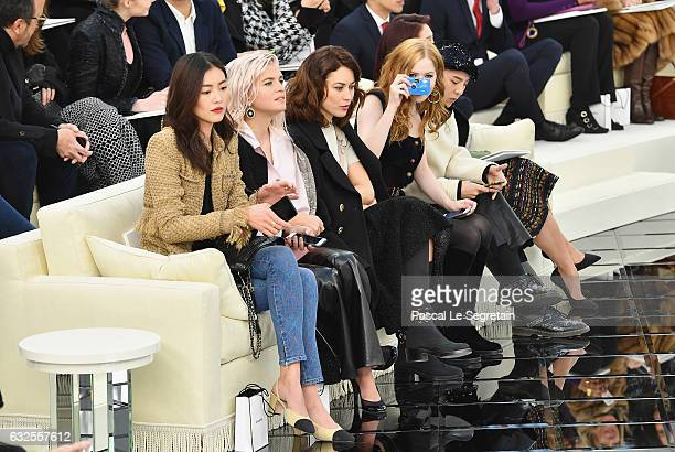 Liu Wen Cecile Cassel Olga Kurylenko Ellie Bamber GDragon and Park Shinhye attend the Chanel Haute Couture Spring Summer 2017 show as part of Paris...