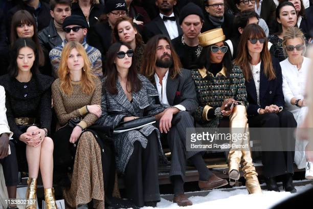 Liu Wen Clemence Poesy Monica Bellucci Nicolas Lefebvre Naomi Campbell Caroline de Maigret make a minute of silence in tribute to Karl Lagerfeld...
