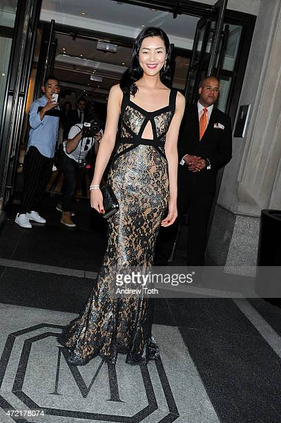Liu Wen departs The Mark Hotel for the Met Gala at the Metropolitan Museum of Art on May 4 2015 in New York City