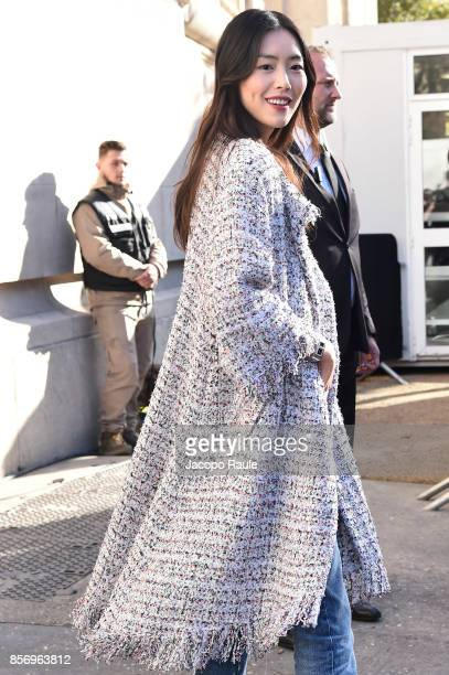 Liu Wen is seen arriving at Chanel show during Paris Fashion Week Womenswear Spring/Summer 2018on October 3 2017 in Paris France