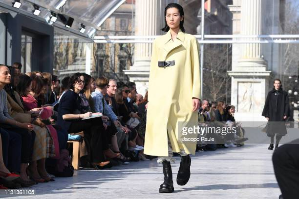 Liu Wen walks the runway at the Bottega Veneta show at Milan Fashion Week Autumn/Winter 2019/20 on February 22 2019 in Milan Italy