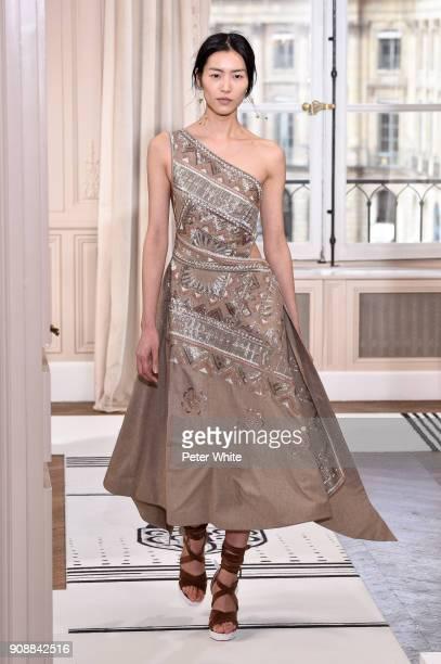 Liu Wen walks the runway during the Schiaparelli Spring Summer 2018 show as part of Paris Fashion Week on January 22 2018 in Paris France