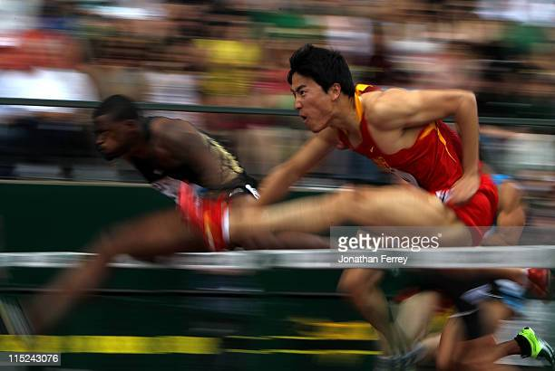 Liu Xiang of China clears a hurdle in the 110m hurdle race during the IAAF Diamond League Prefontaine Classic June 4 2011 at the Hayward Field in...